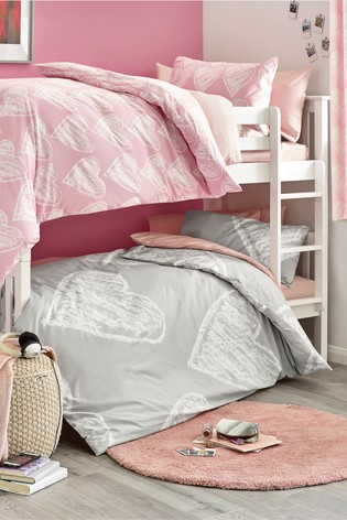 buy 2 pack pink and grey hearts duvet cover and pillowcase set from