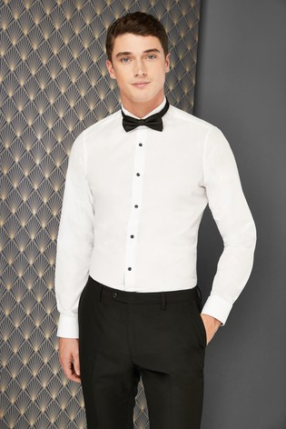 66cf6d2621b5 Buy White Slim Fit Single Cuff Wing Collar Shirt And Black Bow Tie ...