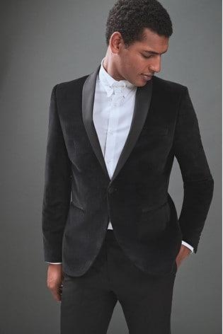 62cb86df4492 Buy Black Slim Fit Velvet Shawl Collar Tuxedo Jacket from the Next ...