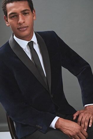 026433693b87 Buy Navy Slim Fit Velvet Shawl Collar Tuxedo Jacket from the Next UK ...