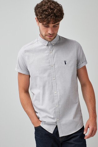 b47d7a25 Buy Grey Slim Fit Short Sleeve Stretch Oxford Shirt from the Next UK ...