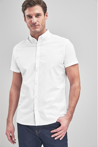 d265e16afb86 Buy White Slim Fit Short Sleeve Stretch Oxford Shirt from Next Slovakia