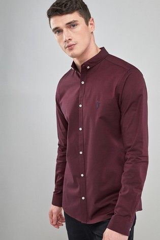 97633f54f5 Buy Burgundy Skinny Fit Long Sleeve Stretch Oxford Shirt from the ...