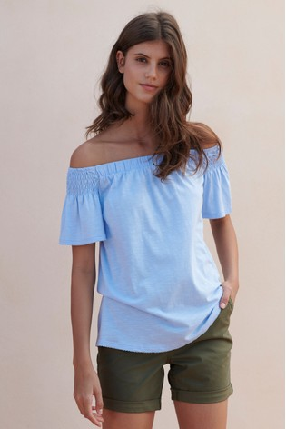 2b064042a59dd Buy Blue Bardot Top from the Next UK online shop