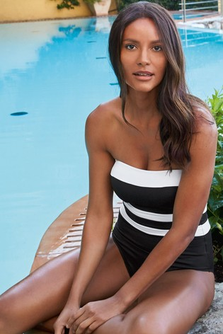 c67abc4692a3a Buy Black/White Bandeau Swimsuit from the Next UK online shop