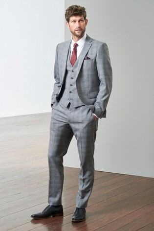 106dec869f03 Buy Light Grey Slim Fit TG di Fabio Signature Check Suit: Jacket ...