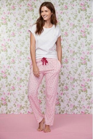 Buy White Pink Heart Print Cotton Pyjamas from Next Egypt 7fa2de502