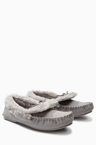 fa0af4f57072 Buy Grey Premium Suede Moccasin Slippers from the Next UK online shop