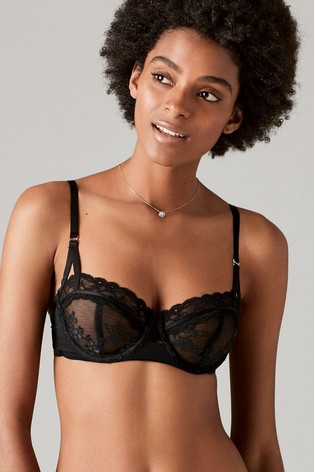 e08309d3eac Buy Black Lizzie Embroidered Non Padded Balcony Bra from the Next UK ...