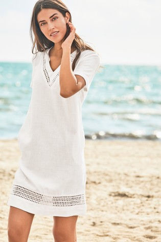8711969ab2f Buy White Linen Blend T-Shirt Dress from the Next UK online shop