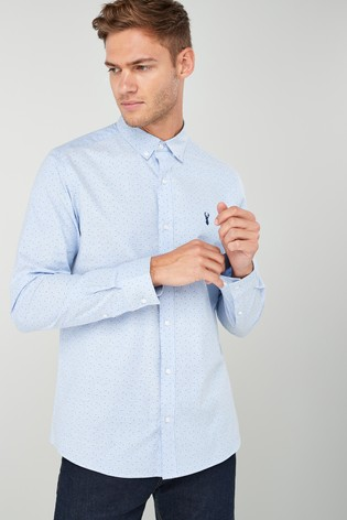 567fe59bde Buy Light Blue Print Slim Fit Long Sleeve Stretch Oxford Shirt from ...