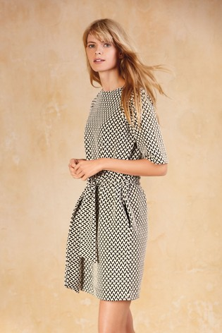 071da7c5a0c55 Buy Monochrome Jacquard Belted Dress from the Next UK online shop