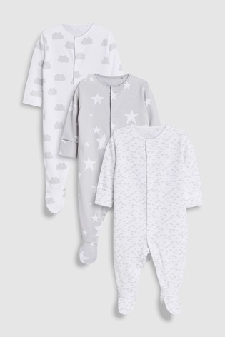 b216c154e Buy Grey White GOTS Certified Organic Cotton Sleepsuits Three Pack ...