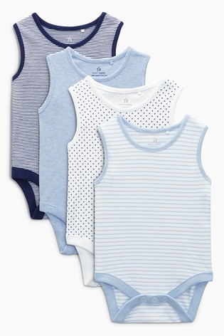 3fd04e0fe Buy Blue White Vests Four Pack (0mths-3yrs) from the Next UK online shop