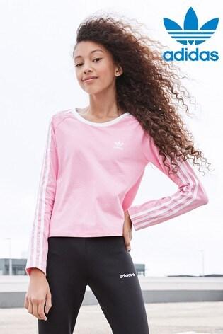 cbf9aaf2a72 Buy adidas Originals Light Pink 3 Stripe Long Sleeved T-Shirt from ...