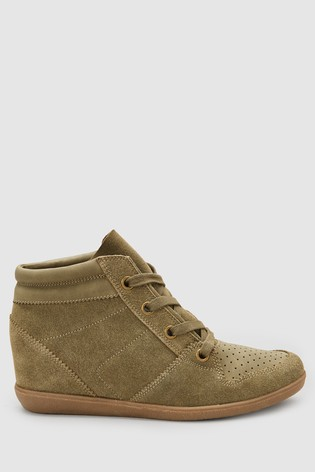 be184b816cd1 Buy Khaki Signature Comfort Suede Wedge High Top Trainers from the ...