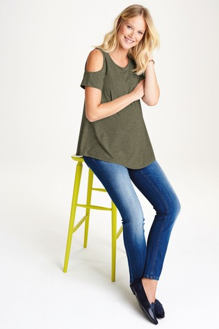 6dc3d0b60beaa4 Buy Khaki Maternity Cold Shoulder Top from Next Cyprus