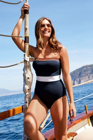 1561cf50b79e1 Buy Navy Colourblock Bandeau Swimsuit from the Next UK online shop