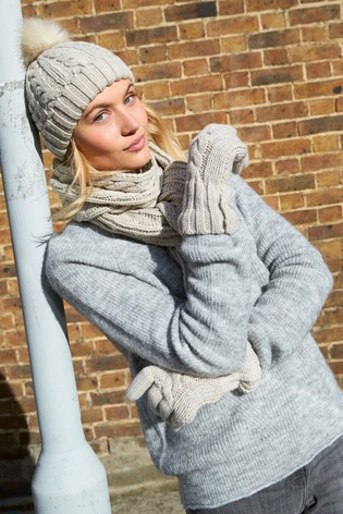 beff5632c7a Buy Oatmeal Cable Knit Pom Hat from the Next UK online shop