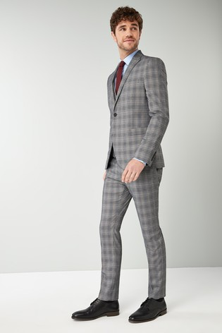 Buy Grey Blue Check Suit Waistcoat From The Next Uk Online Shop