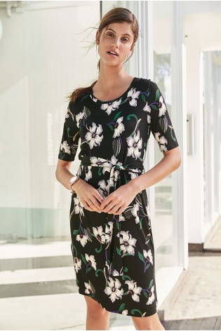162dd43ac4b47 Buy Black Floral Belted Dress from the Next UK online shop