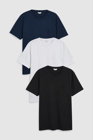 fb2efc548 Buy Black White Navy Textured T-Shirts Three Pack from the Next UK ...