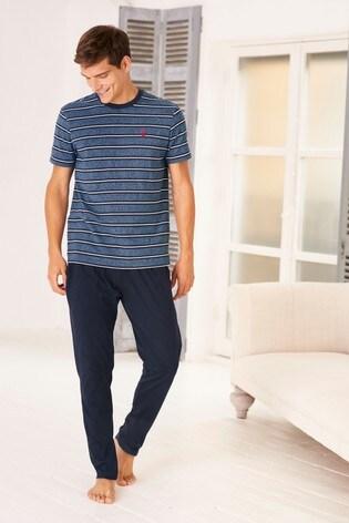 1c93d7fc8 Buy Blue Grindle Stripe Jersey Long Set from the Next UK online shop