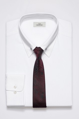 55d8f4c4e72 Buy White Collar Pin Regular Fit Shirt With Paisley Pattern Tie Set ...