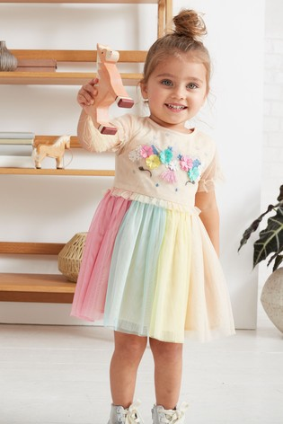 be805f64ba0 Buy Pale Pink Unicorn Mesh Dress (3mths-7yrs) from the Next UK ...