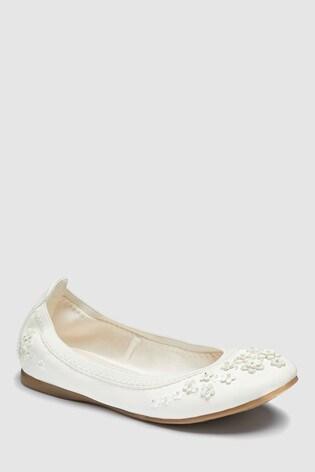 cf354f43c Buy White Flexi Flower Ballerinas (Older) from Next India