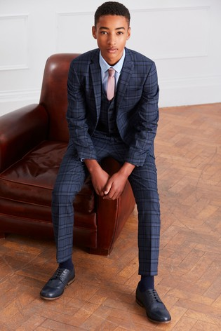 0b990fcb95 Buy Navy Check Waistcoat Set (12mths-16yrs) from the Next UK online shop