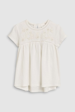 8e3e2261912a Buy White Short Sleeve Embroidered Blouse (3-16 let) from Next Czech ...