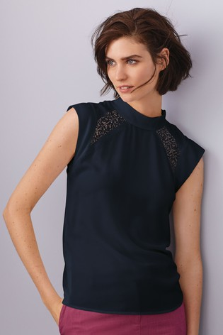 Buy Navy Lace Neck Detail Sleeveless Top from Next Luxembourg 75bcd815194