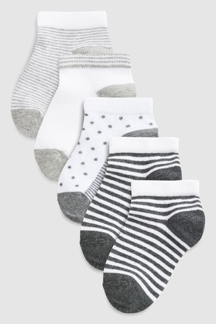 Buy Mono Spot And Stripe Trainer Socks Five Pack (Older) from Next Qatar