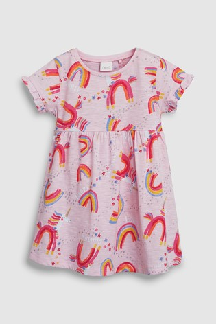 7c1a2aa1bb5e Buy Multi Short Sleeve Unicorn Print Dress (3 m -7 let) from Next ...