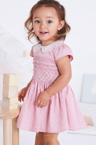 691b5f35da7c Buy Pink Shirred Collar Dress (3mths-7yrs) from Next Ireland