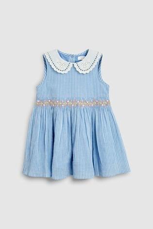 ec91b8b2eaa4 Buy Blue Shirred Collar Dress (3mths-7yrs) from the Next UK online shop