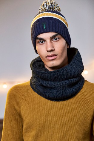 Buy Navy Yellow Block Bobble Hat from the Next UK online shop 0acc15c329e