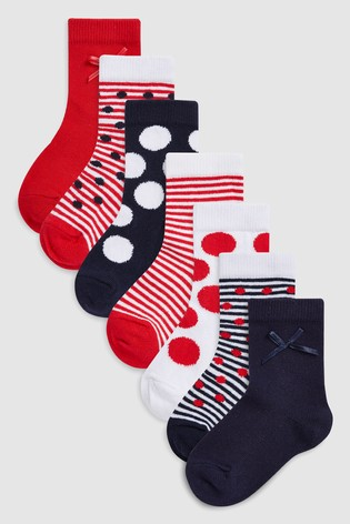 adb37deebdb3c Buy Red Spot/Stripe Socks Seven Pack (Younger) from the Next UK ...
