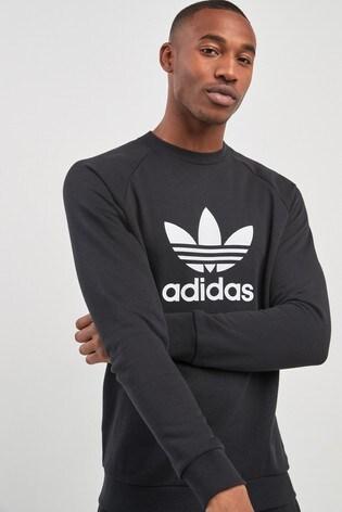 Noir Sweat-shirt adidas Originals avec logo trèfle et col ras du cou ff2ab26ea4c