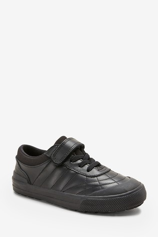 4cd662af2b9d Buy Black Leather Quilted Elastic Lace Shoes (Older) from Next Ireland