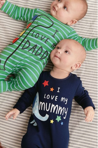 a30aba86a Navy/Green Mummy And Daddy Character Sleepsuits Two Pack (0mths-2yrs) ...