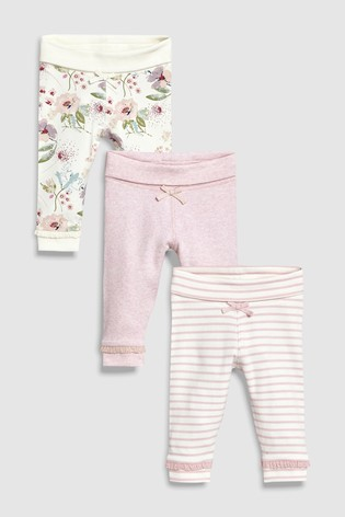 cdd7ebfed6037 Buy Pink/Cream Floral Leggings Three Pack (0mths-2yrs) from the Next ...