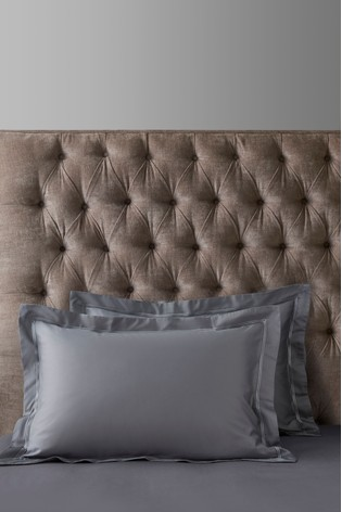a85a8534d27 Grey Set of 2 600 Thread Count Cotton Sateen Collection Luxe Pillowcases ...