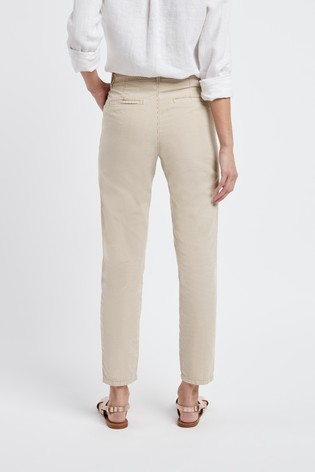 NEXT NUDE COTTON WIDE LEG CASUAL CHINO TROUSERS PANTS UK8 10 12 14 16 18 20