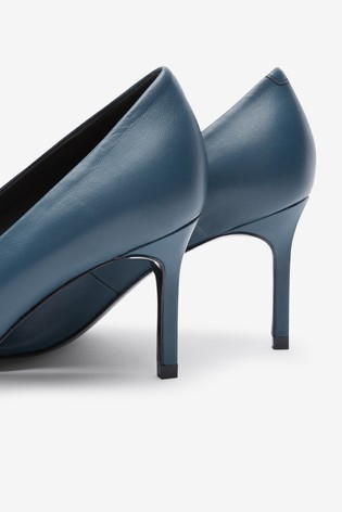 Buy Blue Leather Court Shoes from Next