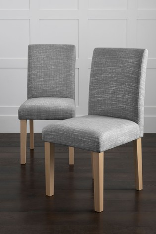 Boucle Weave Light Dove Set Of 2 Moda II With Natural Legs