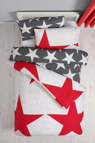Red 2 Pack Stars Duvet Cover And Pillowcase Set
