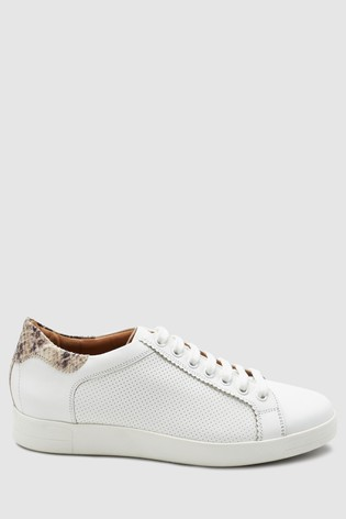 7d29367d2df Buy White With Snake back Signature Leather Lace-Up Trainers from ...
