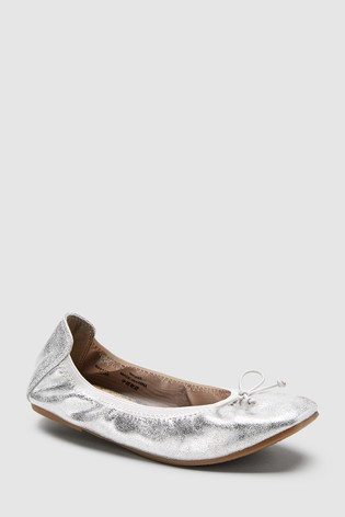 5fb84a62355b Buy Silver Flexi Ballet Shoes (Older) from Next Ireland